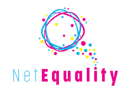 Net Equality logo: Words Net Equality at the bottom with the dot of the eye turning into a graphic, with repeating blue, pink and yellow dots which form a speech / thought bubble shape with 4 overlapping colours rings