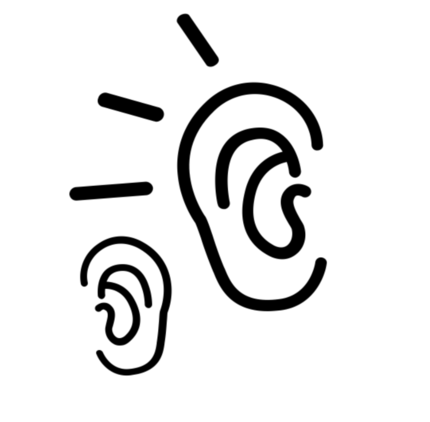 Two ears with lines connecting them to symbolise listening to eachother